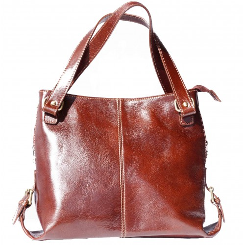Shopping bag of genuine calf leather Azalea Colour brown for women
