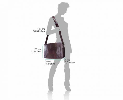 dark brown briefcase bag in genuine rigid leather Costela from italy for women