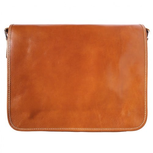 Briefcase with shoulder strap of genuine calf leather Leandro Colour tan for women