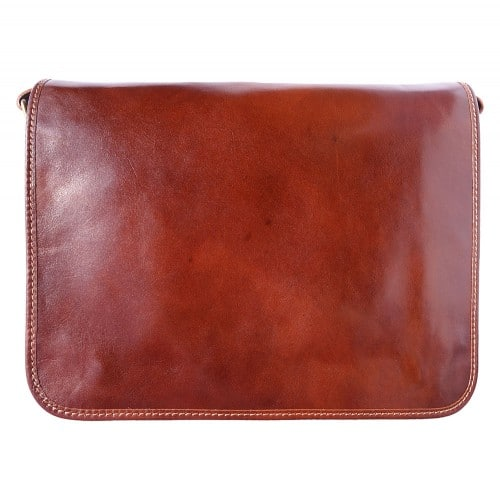 Briefcase with shoulder strap of genuine calf leather Leandro Colour brown for men