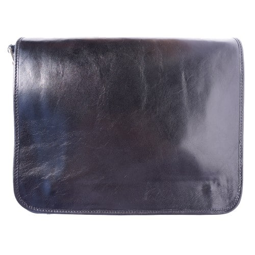 Briefcase with shoulder strap of genuine calf leather Leandro Colour black for men
