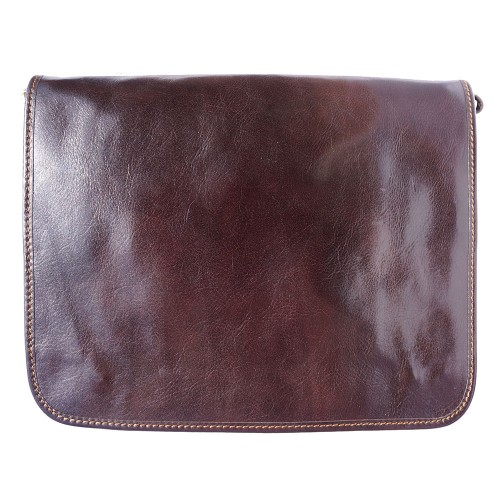 Briefcase with shoulder strap of genuine calf leather Leandro Colour Dark brown for men