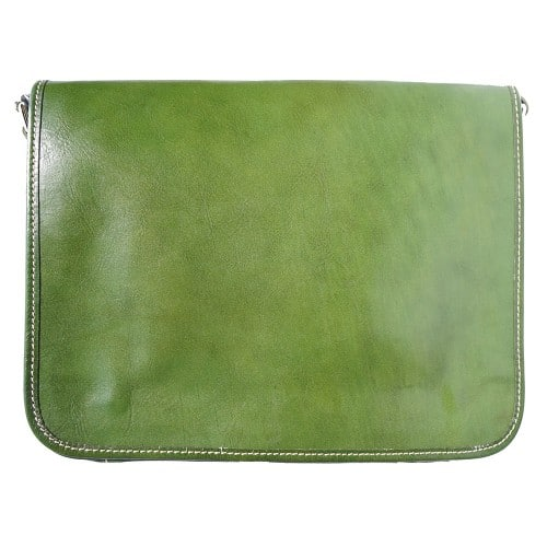 Briefcase with shoulder strap of genuine calf leather Leandro Colour Dark green for men