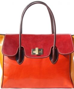 Colorful handbag in genuine leather Eudora Colour yellow orange red for women