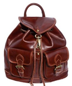 brown backpack in rigid genuine calf leather man