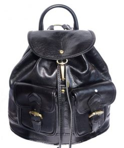 black backpack in rigid genuine calf leather man