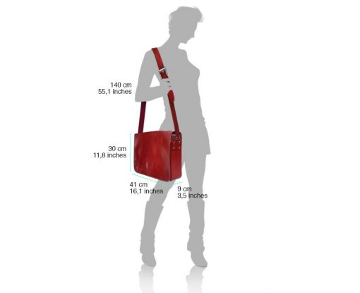 red cross body bag Nadia in genuine leather unisex