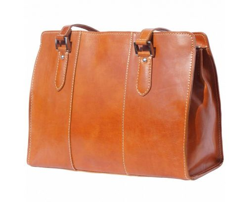 tan shoulder bag in leather Cristina for woman