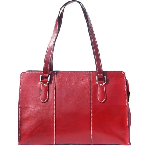Lady's shoulder bag Ombretta in genuine leather Colour Dark red for women