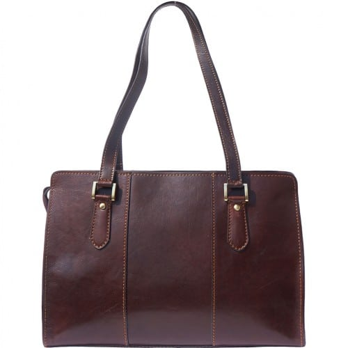 Lady's shoulder bag Ombretta in genuine leather Colour Dark Brown for women