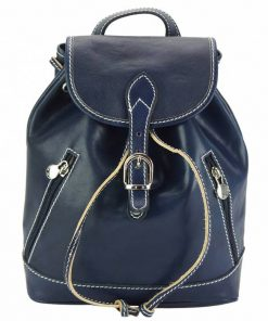 blue backpack of leather for woman