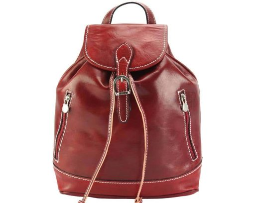 red backpack unisex of genuine leather