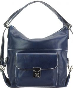 Shoulder bag multifunction Valentina in genuine leather Colour Dark blue for women