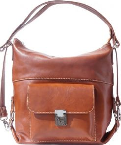 Shoulder bag multifunction Valentina in genuine leather Colour tan for women