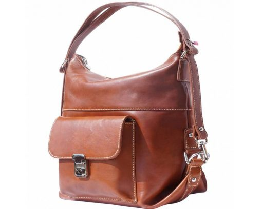 brown bags backpacks Matilda in real leather woman