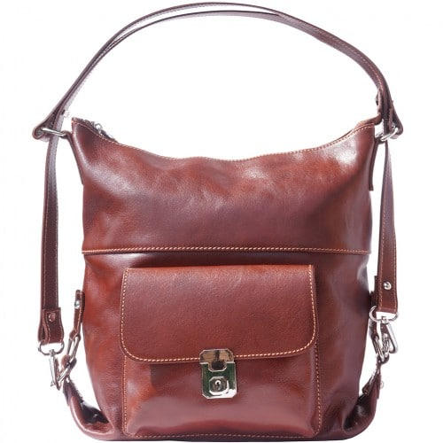 Shoulder bag multifunction Valentina in genuine leather Colour brown for women