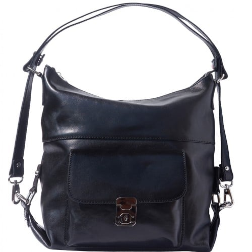 Shoulder bag multifunction Valentina in genuine leather Colour black for women