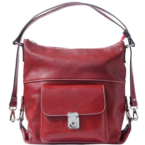 Shoulder bag multifunction Valentina in genuine leather Colour Dark red for women