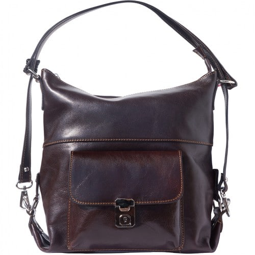 Shoulder bag multifunction Valentina in genuine leather Colour Dark brown for women