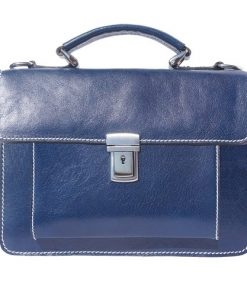 dark blue briefcase in genuine leather Moira women