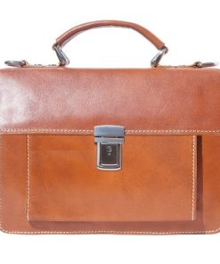 tan mini briefcase in genuine leather Moira woman
