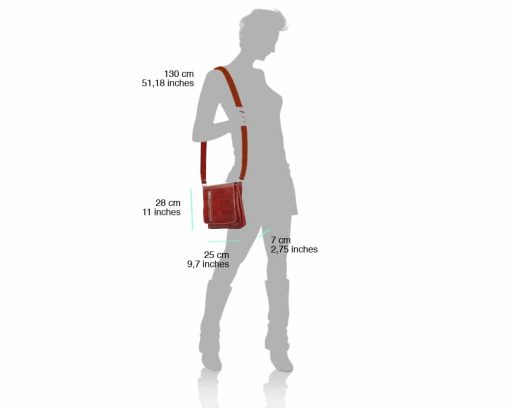red messenger for man in natural leather from italy