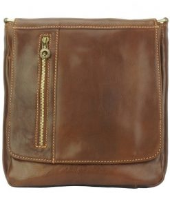 brown cross body bag in genuine vintage leather Gustavo men