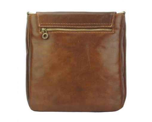 buy brown messenger in real leather liorii man