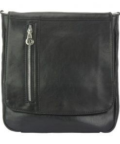 black cross body bag in genuine vintage leather Gustavo men