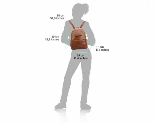 brown backpack in natural leather Antonino from italy woman