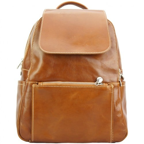 tan backpack in cow genuine leather Franco women