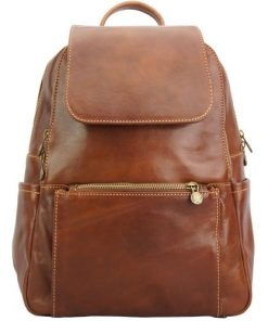 brown backpack in cow genuine leather Franco man