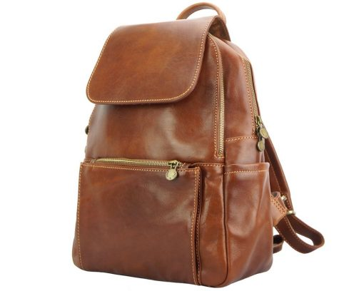 brown backpack in genuine leather Antonino from italy man