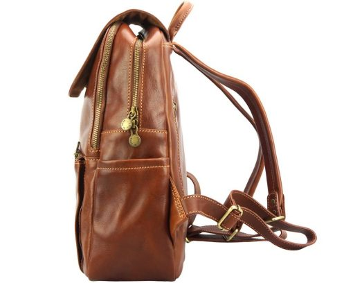 brown backpack in real leather Antonino from italy unisex