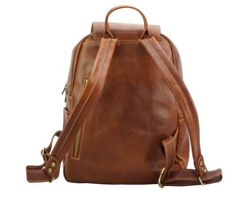 brown backpack in real leather Antonino man