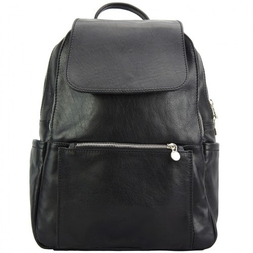 black backpack in cow genuine leather Franco woman