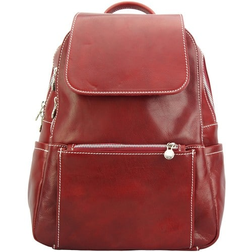red backpack in cow genuine leather Franco women