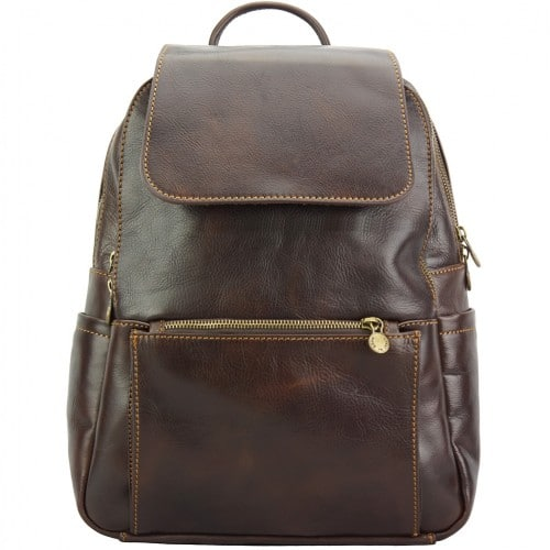 dark brown backpack in cow genuine leather Franco man