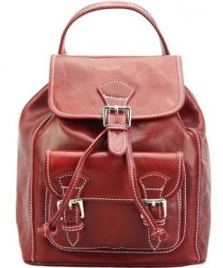 dark red backpack in calfskin leather Carlo women
