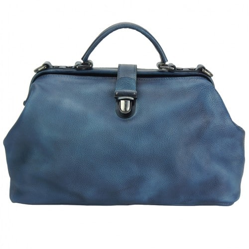 blue handbag in vintage leather Alcina mans