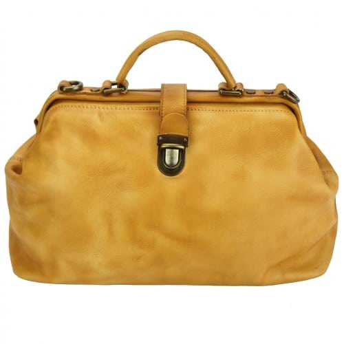 yellow handbag in vintage leather Alcina mans
