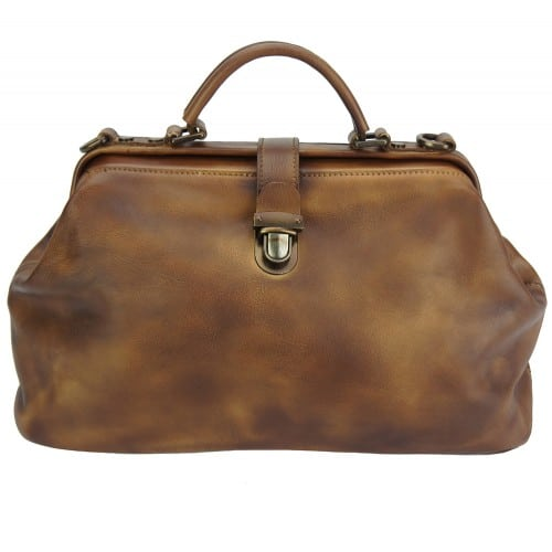 tan handbag in vintage leather Alcina women