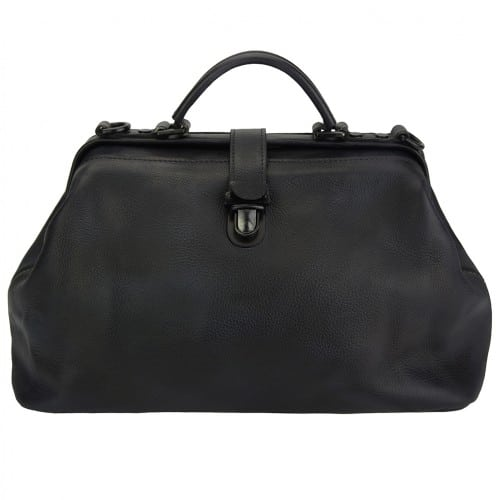 black handbag in vintage leather Alcina man