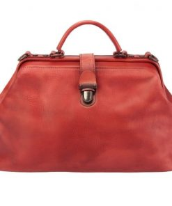 red handbag in vintage leather Alcina for women