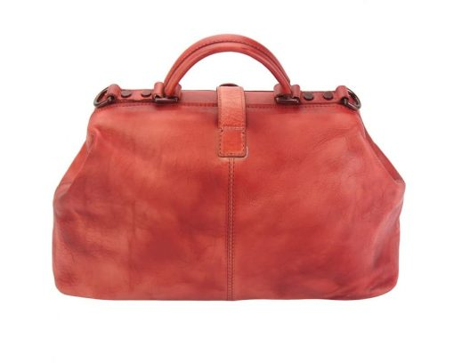 red handbag in vintage genuine leather Alcina sale for women