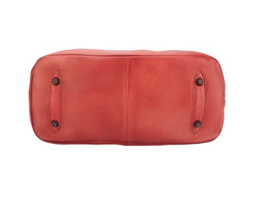 red handbag in vintage genuine leather Alcina for women
