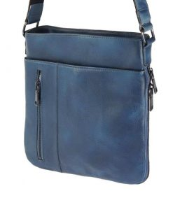 dark blue messenger in vintage genuine leather