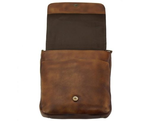 brown cross body bags in genuine leather Monic mans