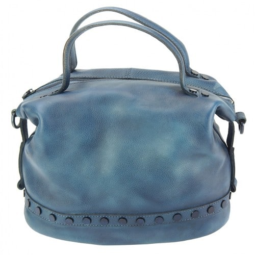 dark blue handbag with rivets in vintage leather Aliona for women