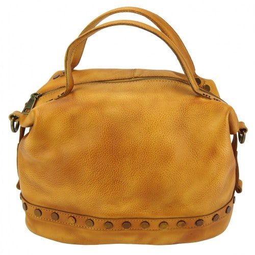 tan handbag with rivets in vintage leather Aliona womans